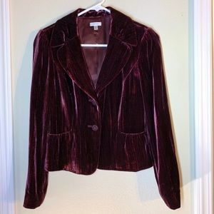 Plum velvet blazer with beautiful button details